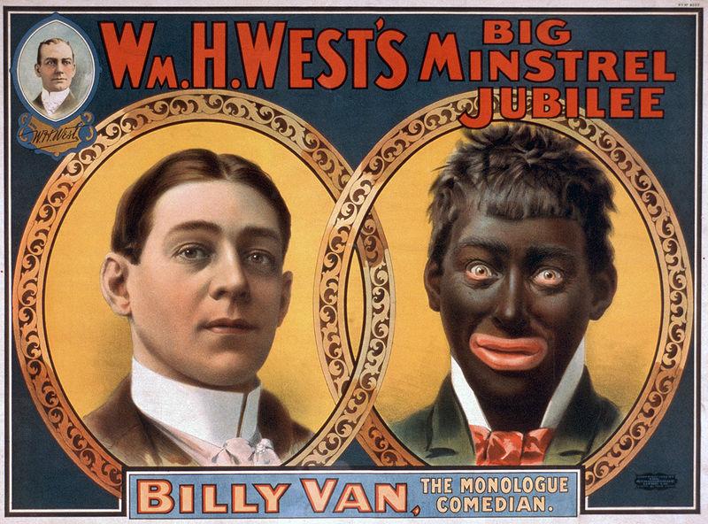 Reprodução de pôster de um show de Blackface Minstrel de 1900, mostrando a transformação de William H. West.