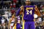 Dec 2, 2015; Washington, DC, USA; Los Angeles Lakers forward Kobe Bryant (24) gestures to the crowd while being honored during a timeout against the Washington Wizards in the first quarter at Verizon Center. Mandatory Credit: Geoff Burke-USA TODAY Sports